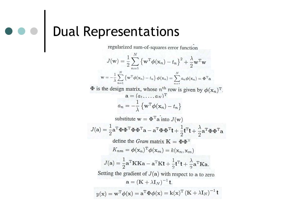 Dual Representations