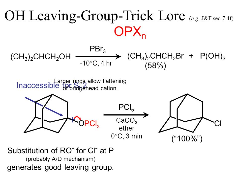 OPX n + OH Leaving-Group-Trick Lore (e.g.