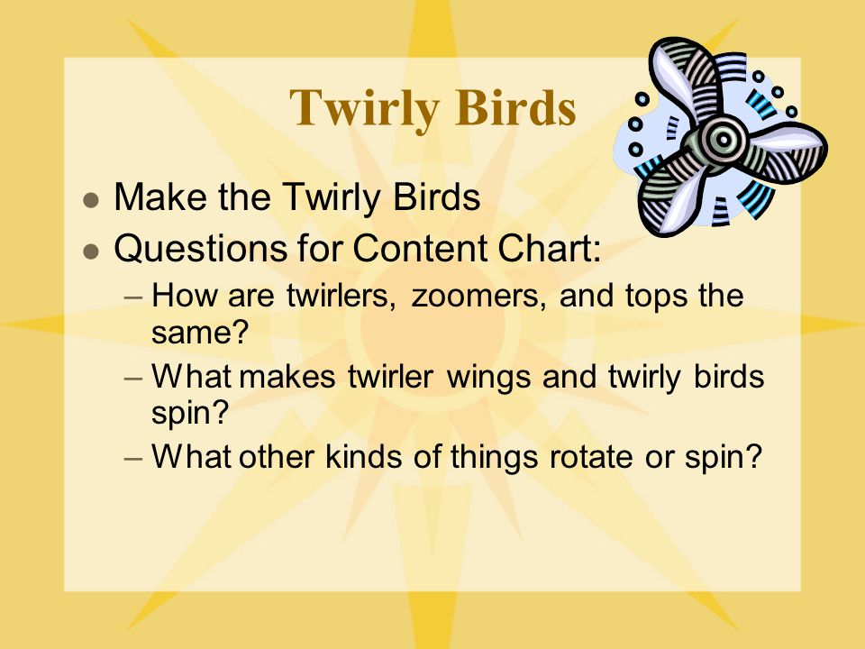 Twirly Birds Make the Twirly Birds Questions for Content Chart: –How are twirlers, zoomers, and tops the same? –What makes twirler wings and twirly bi