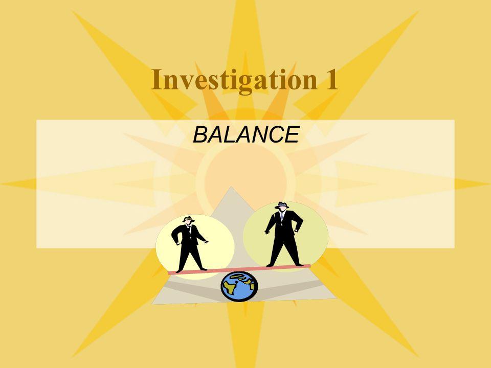 Investigation 1 BALANCE