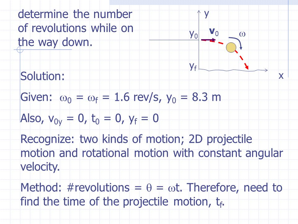 Solution: Given:  0 =  f = 1.6 rev/s, y 0 = 8.3 m Also, v 0y = 0, t 0 = 0, y f = 0 Recognize: two kinds of motion; 2D projectile motion and rotatio
