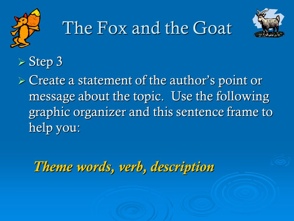 The Fox and the Goat  Step 3  Create a statement of the author's point or message about the topic. Use the following graphic organizer and this sent