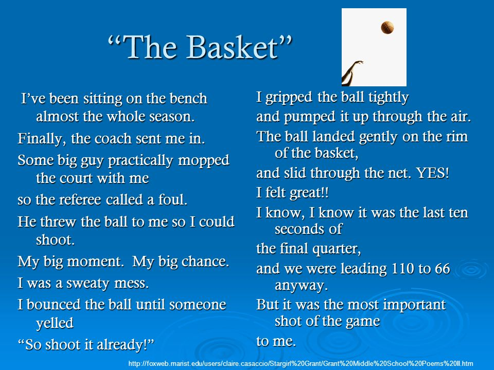 """The Basket"" I've been sitting on the bench almost the whole season. I've been sitting on the bench almost the whole season. Finally, the coach sent m"