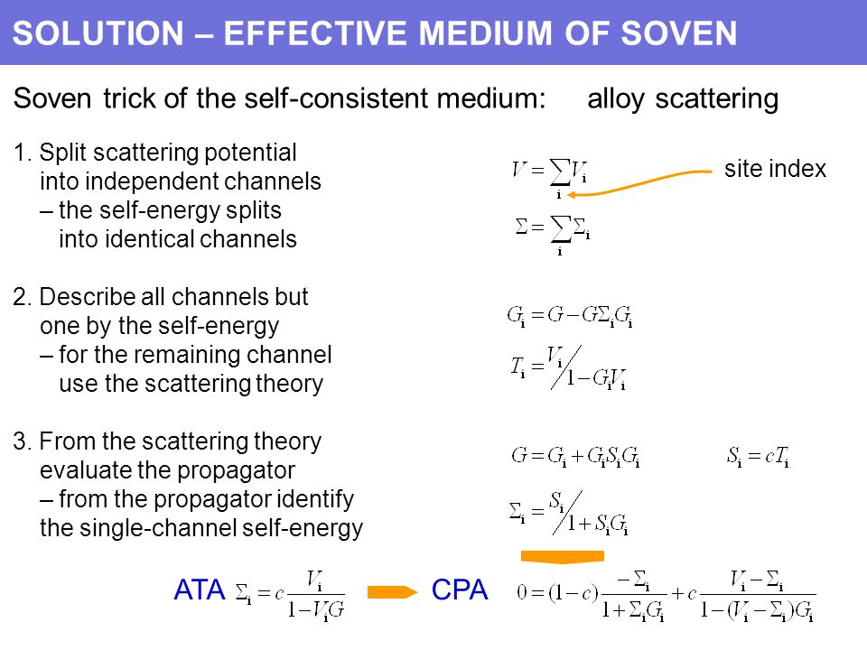 SOLUTION – EFFECTIVE MEDIUM OF SOVEN Soven trick of the self-consistent medium: alloy scattering 1.