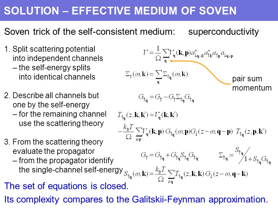 SOLUTION – EFFECTIVE MEDIUM OF SOVEN Soven trick of the self-consistent medium: superconductivity 1.
