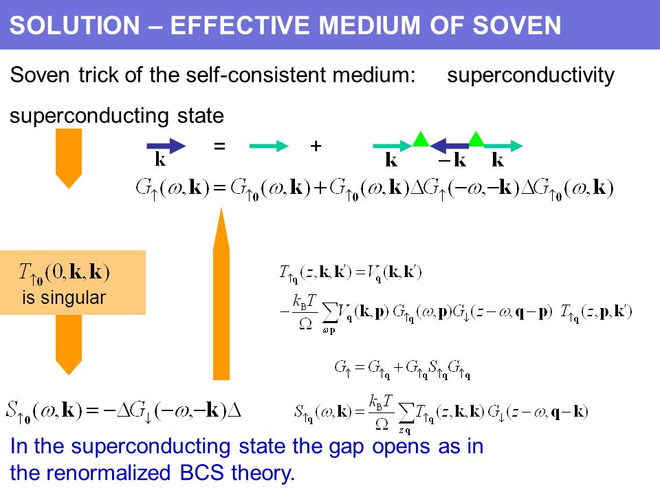 = + SOLUTION – EFFECTIVE MEDIUM OF SOVEN Soven trick of the self-consistent medium: superconductivity superconducting state is singular In the superconducting state the gap opens as in the renormalized BCS theory.