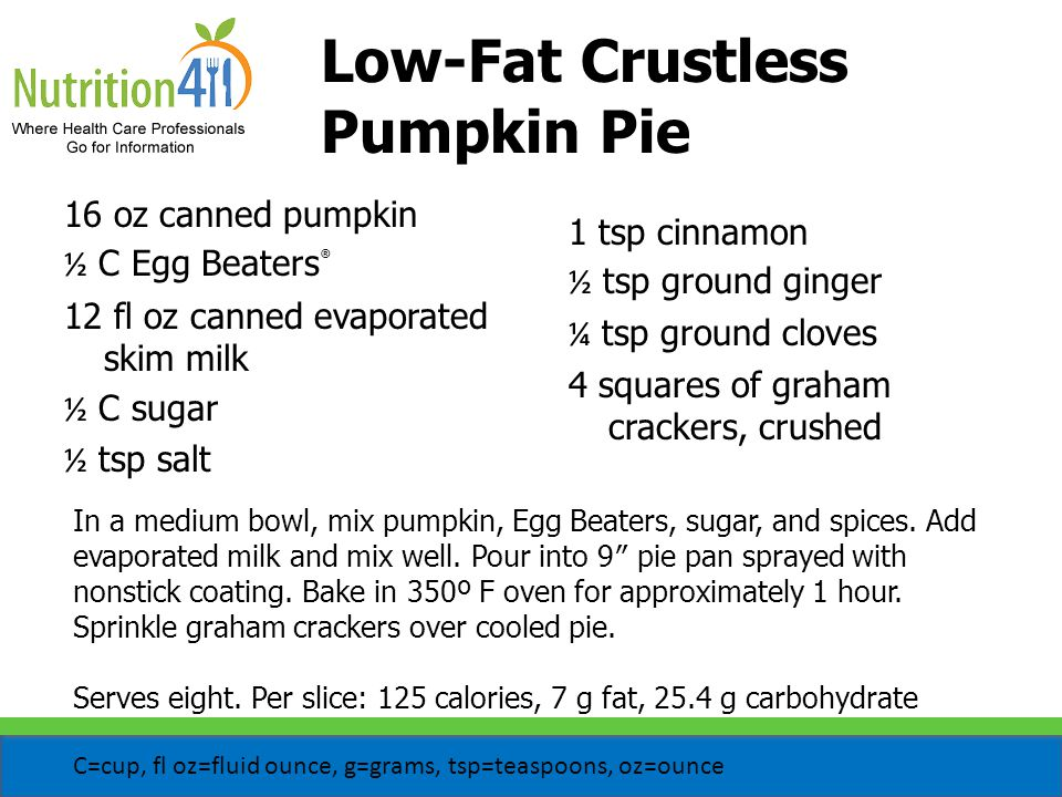 Low-Fat Crustless Pumpkin Pie In a medium bowl, mix pumpkin, Egg Beaters, sugar, and spices.