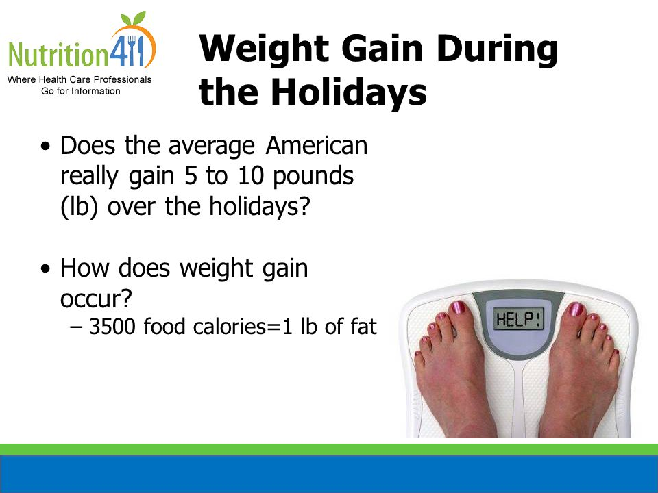 Does the average American really gain 5 to 10 pounds (lb) over the holidays.