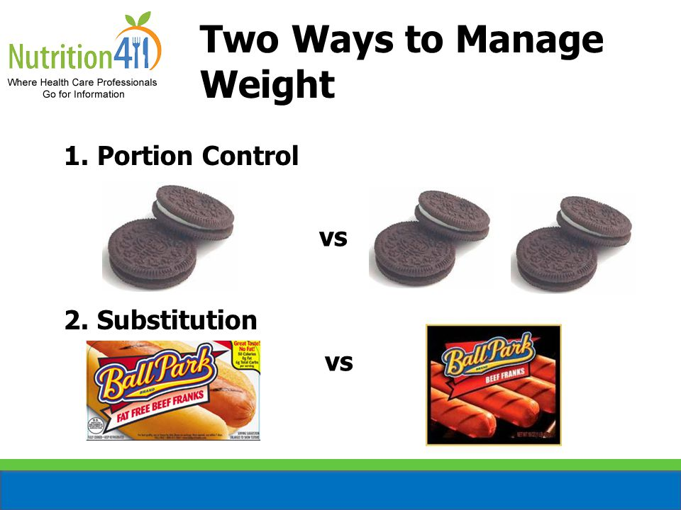 Two Ways to Manage Weight 1. Portion Control 2. Substitution vs