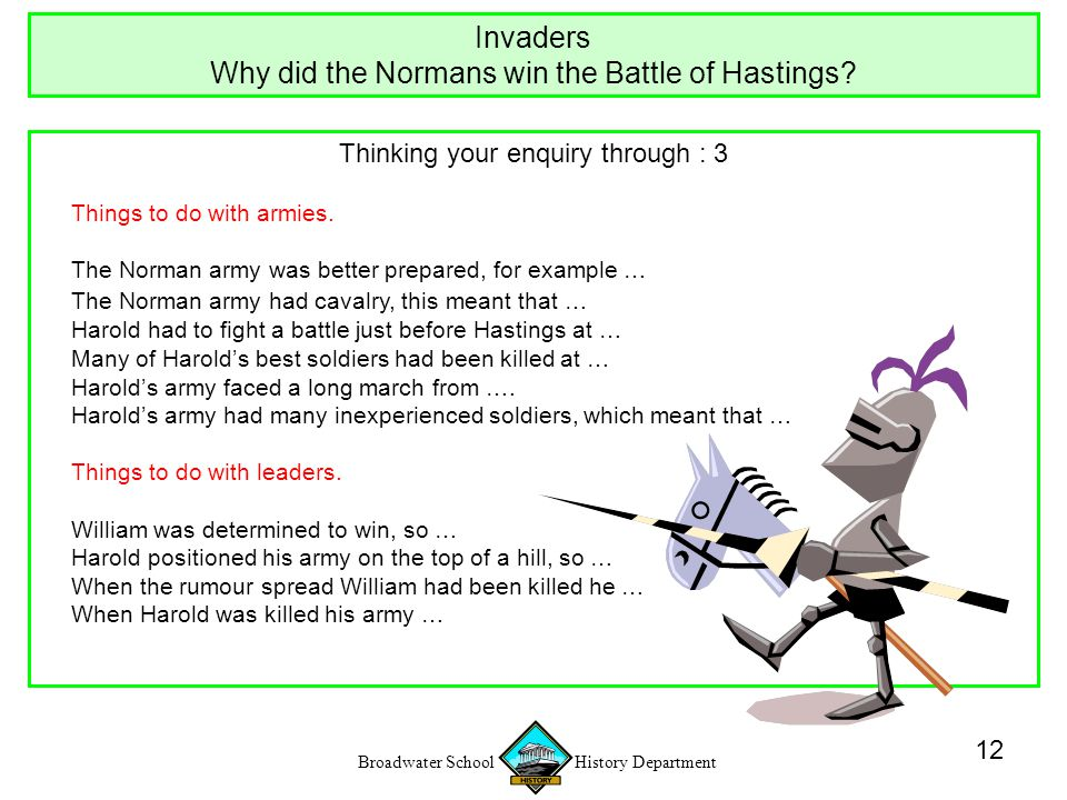 Broadwater School History Department 12 Thinking your enquiry through : 3 Things to do with armies.