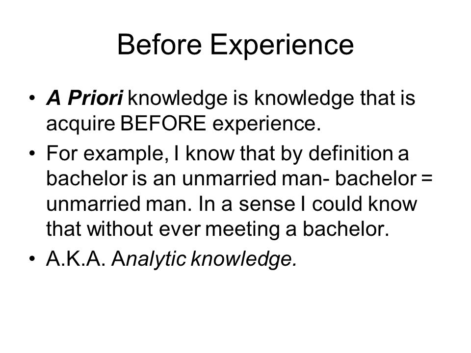 After Experience A Posteriori knowledge is knowledge that is acquire after some experience.