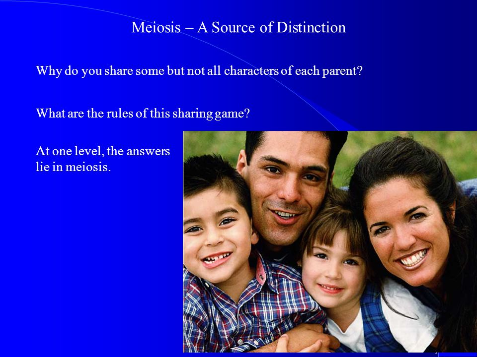 ©2000 Timothy G. Standish Meiosis – A Source of Distinction Why do you share some but not all characters of each parent? What are the rules of this sh
