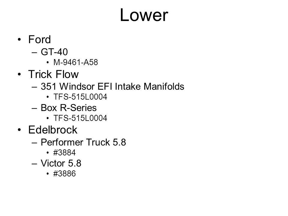 Lower Ford –GT-40 M-9461-A58 Trick Flow –351 Windsor EFI Intake Manifolds TFS-515L0004 –Box R-Series TFS-515L0004 Edelbrock –Performer Truck 5.8 #3884