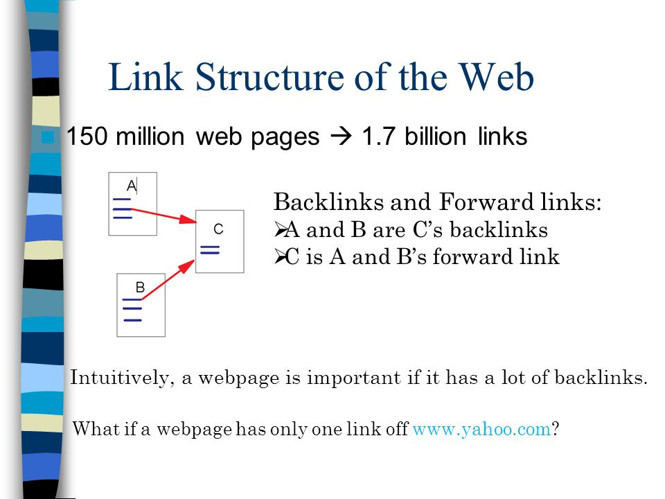 Link Structure of the Web 150 million web pages  1.7 billion links Backlinks and Forward links:  A and B are C's backlinks  C is A and B's forward link Intuitively, a webpage is important if it has a lot of backlinks.