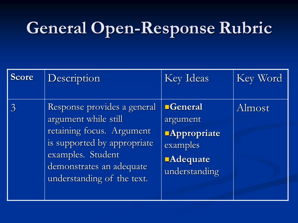 General Open-Response Rubric ScoreDescription Key Ideas Key Word 3 Response provides a general argument while still retaining focus.
