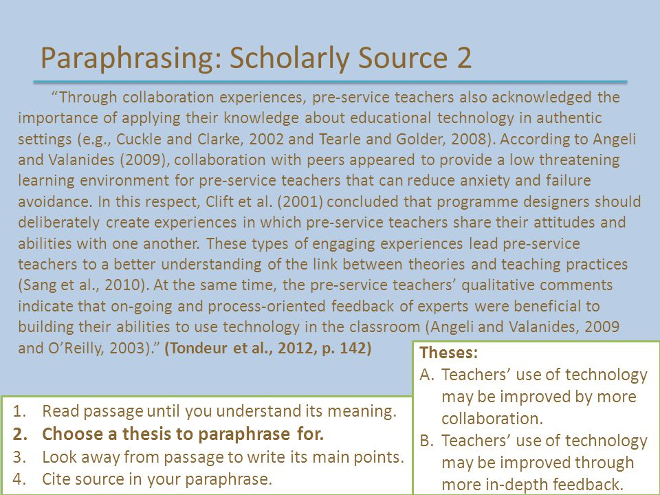 "Paraphrasing: Scholarly Source 2 ""Through collaboration experiences, pre-service teachers also acknowledged the importance of applying their knowledge"