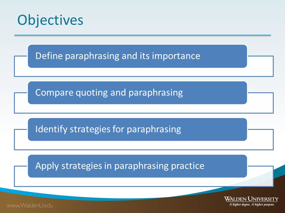 Objectives Define paraphrasing and its importanceCompare quoting and paraphrasingIdentify strategies for paraphrasingApply strategies in paraphrasing