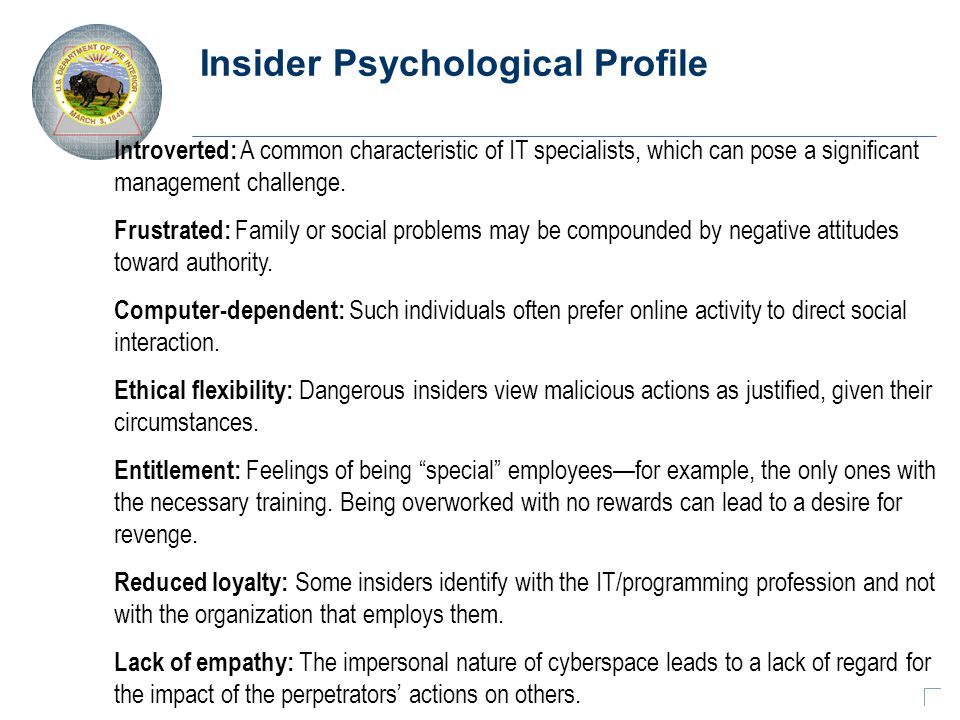 Insider Psychological Profile Introverted: A common characteristic of IT specialists, which can pose a significant management challenge.