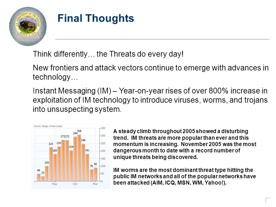 Final Thoughts Think differently… the Threats do every day.