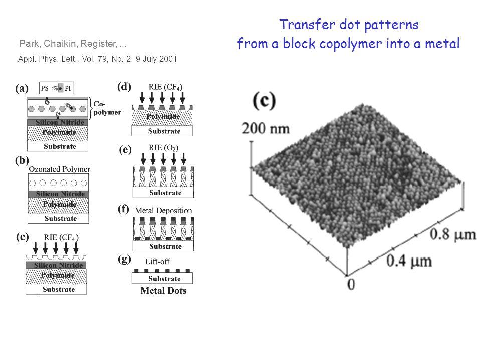 Park, Chaikin, Register,... Transfer dot patterns from a block copolymer into a metal