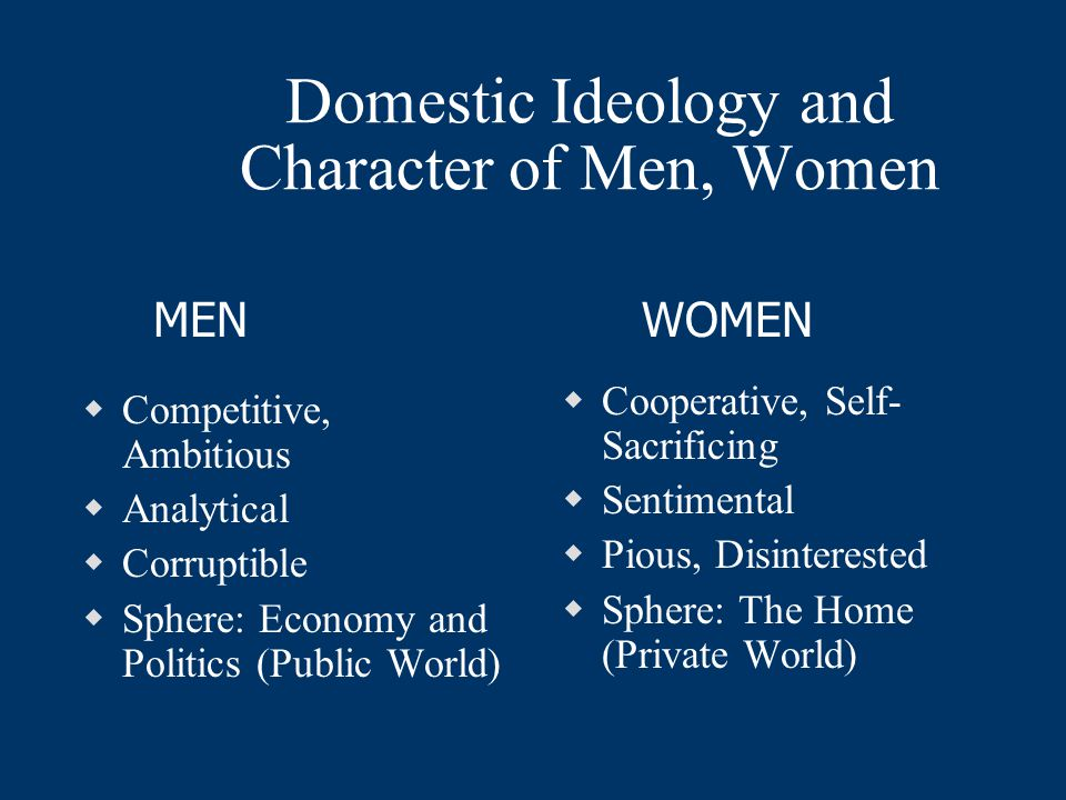 Domestic Ideology and Character of Men, Women  Competitive, Ambitious  Analytical  Corruptible  Sphere: Economy and Politics (Public World)  Cooperative, Self- Sacrificing  Sentimental  Pious, Disinterested  Sphere: The Home (Private World) MENWOMEN