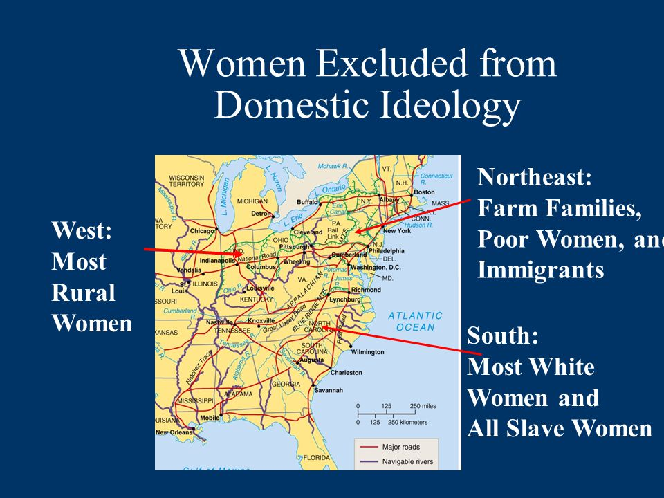 Women Excluded from Domestic Ideology Northeast: Farm Families, Poor Women, and Immigrants South: Most White Women and All Slave Women West: Most Rural Women
