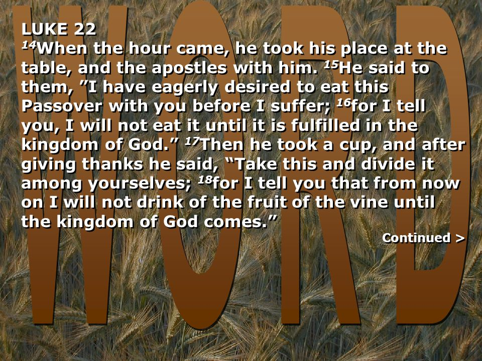 LUKE 22 14 When the hour came, he took his place at the table, and the apostles with him.