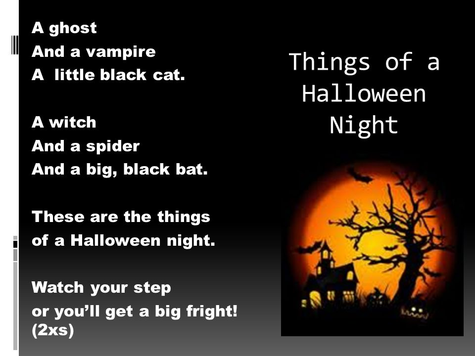 Things of a Halloween Night A ghost And a vampire A little black cat.