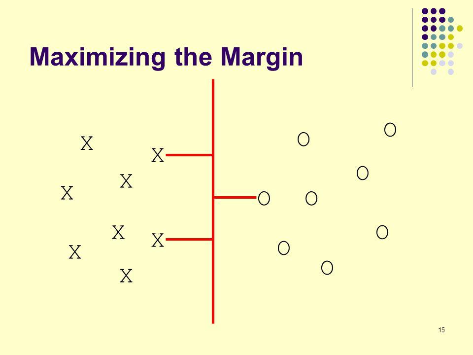 15 Maximizing the Margin X X O O O O O O X X X X X X O O