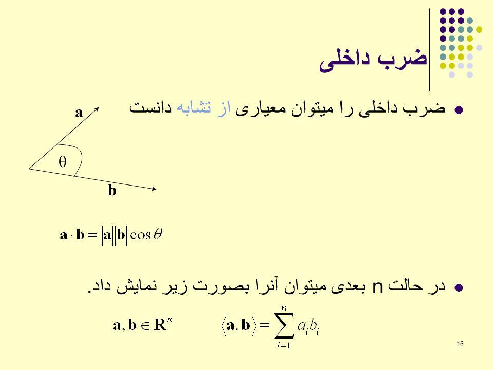 16 ضرب داخلی ضرب داخلی را میتوان معیاری از تشابه دانست در حالت n بعدی میتوان آنرا بصورت زیر نمایش داد.  a b