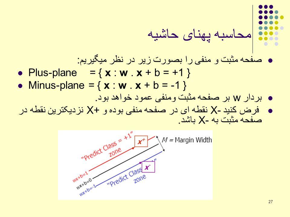 27 محاسبه پهنای حاشیه صفحه مثبت و منفی را بصورت زیر در نظر میگیریم: Plus-plane = { x : w. x + b = +1 } Minus-plane = { x : w. x + b = -1 } بردار w بر