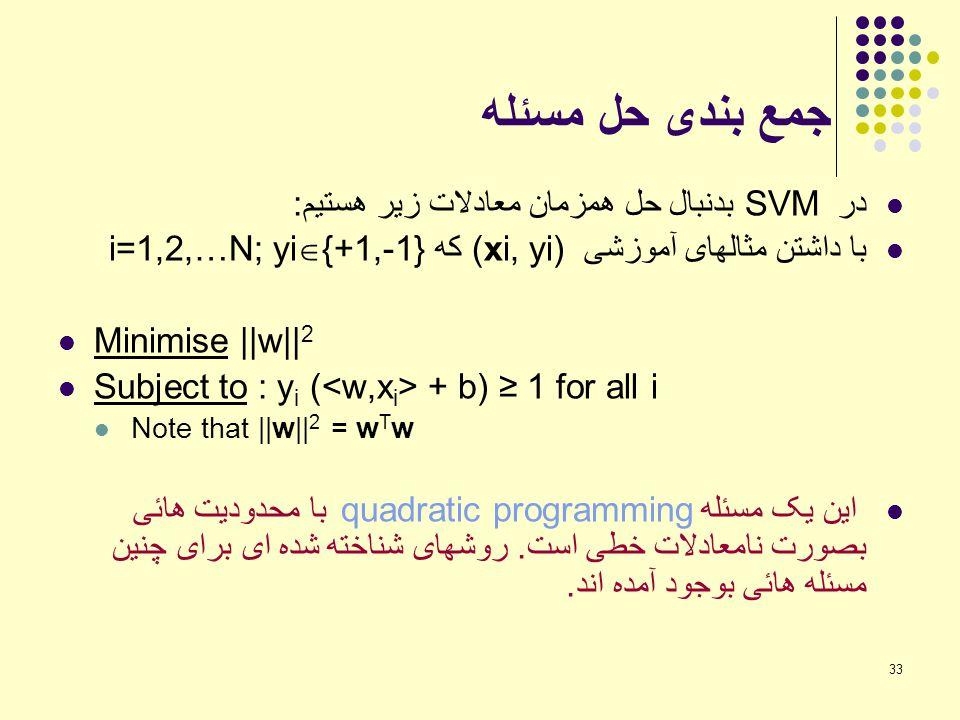 33 جمع بندی حل مسئله در SVM بدنبال حل همزمان معادلات زیر هستیم: با داشتن مثالهای آموزشی (xi, yi) که i=1,2,…N; yi  {+1,-1} Minimise   w   2 Subject to