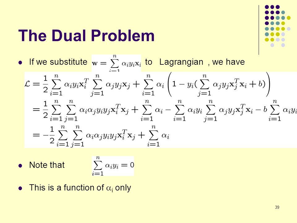 39 The Dual Problem If we substitute to Lagrangian, we have Note that This is a function of  i only
