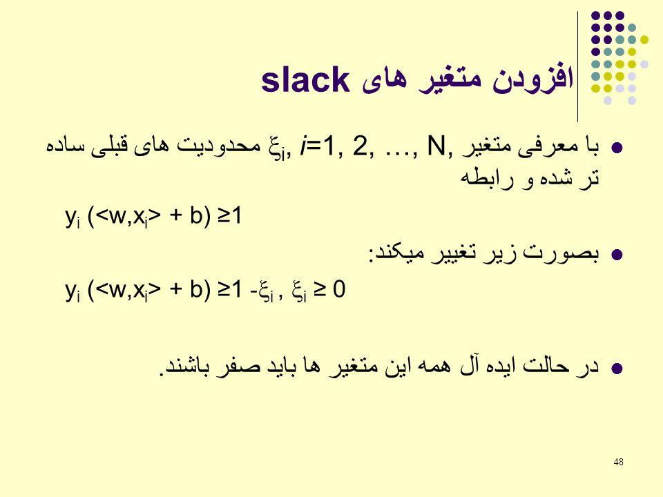 48 افزودن متغیر های slack با معرفی متغیر  i, i=1, 2, …, N, محدودیت های قبلی ساده تر شده و رابطه y i ( + b) ≥1 بصورت زیر تغییر میکند : y i ( + b) ≥1-