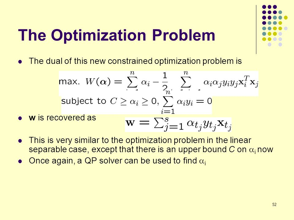 52 The Optimization Problem The dual of this new constrained optimization problem is w is recovered as This is very similar to the optimization proble