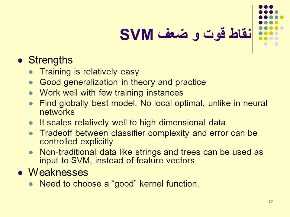 72 نقاط قوت و ضعف SVM Strengths Training is relatively easy Good generalization in theory and practice Work well with few training instances Find glob