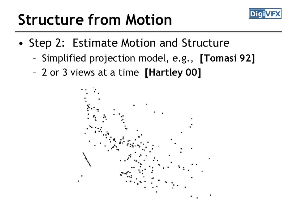 Structure from Motion Step 2: Estimate Motion and Structure –Simplified projection model, e.g., [Tomasi 92] –2 or 3 views at a time [Hartley 00]