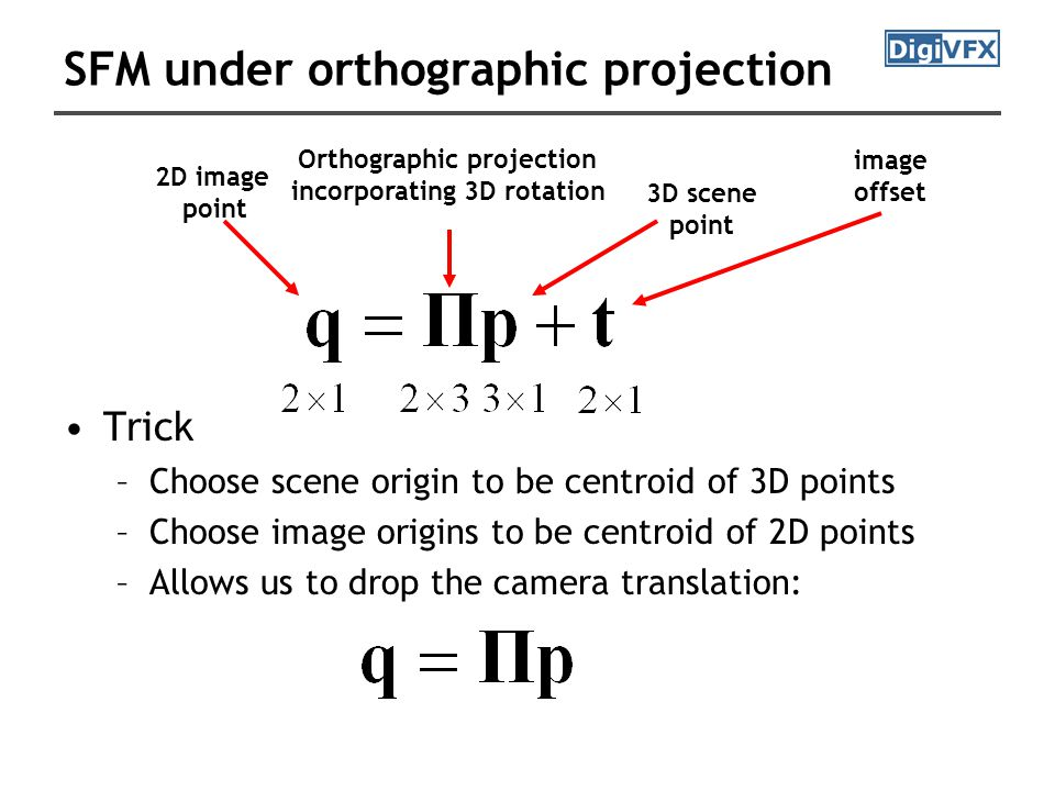 SFM under orthographic projection 2D image point Orthographic projection incorporating 3D rotation 3D scene point image offset Trick –Choose scene origin to be centroid of 3D points –Choose image origins to be centroid of 2D points –Allows us to drop the camera translation: