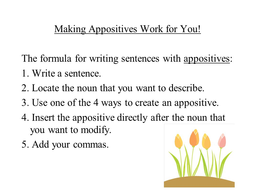 Making Appositives Work for You! The formula for writing sentences with appositives: 1. Write a sentence. 2. Locate the noun that you want to describe