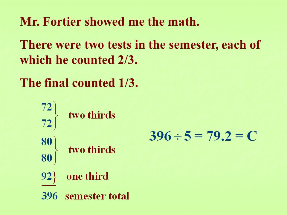 Mr. Fortier showed me the math.