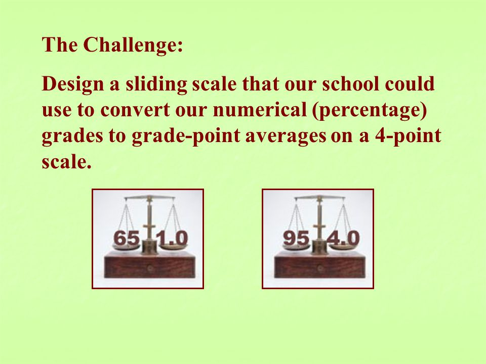 The Challenge: Design a sliding scale that our school could use to convert our numerical (percentage) grades to grade-point averages on a 4-point scale.