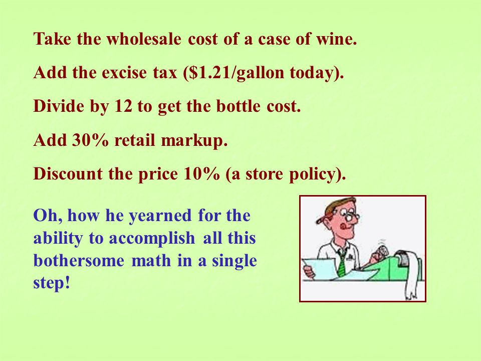 Take the wholesale cost of a case of wine. Add the excise tax ($1.21/gallon today). Divide by 12 to get the bottle cost. Add 30% retail markup. Discou