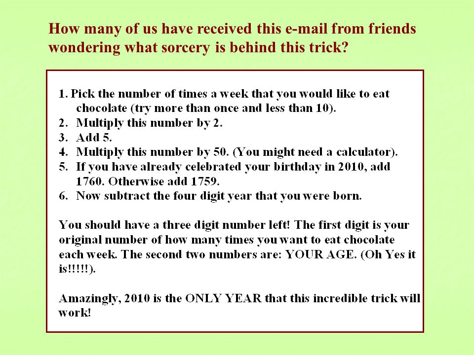How many of us have received this e-mail from friends wondering what sorcery is behind this trick?