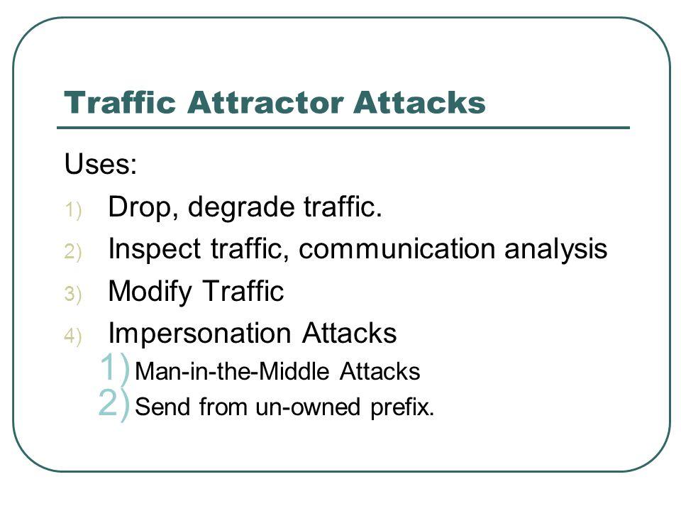 Traffic Attractor Attacks Uses: 1) Drop, degrade traffic.