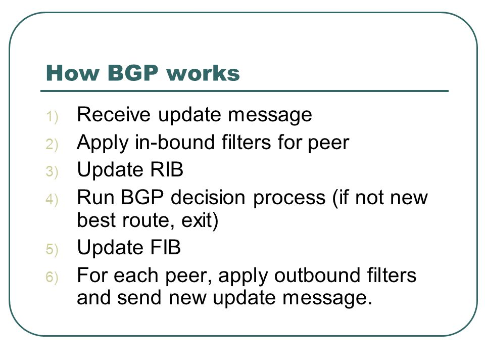 How BGP works 1) Receive update message 2) Apply in-bound filters for peer 3) Update RIB 4) Run BGP decision process (if not new best route, exit) 5) Update FIB 6) For each peer, apply outbound filters and send new update message.