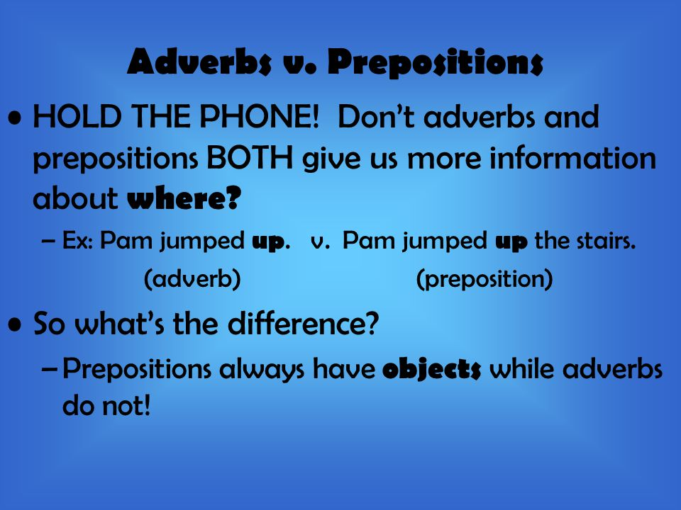 Adverbs v. Prepositions HOLD THE PHONE.