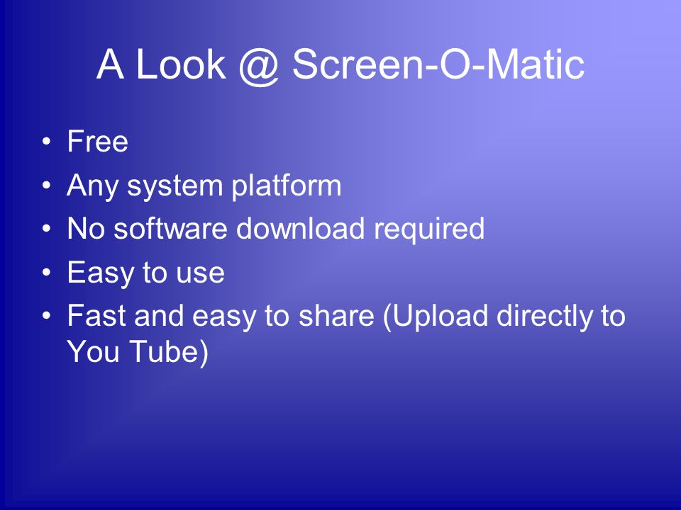 A Look @ Jing Free Compatible with Mac & Windows Easy setup and install Easy to use Fast and easy to share