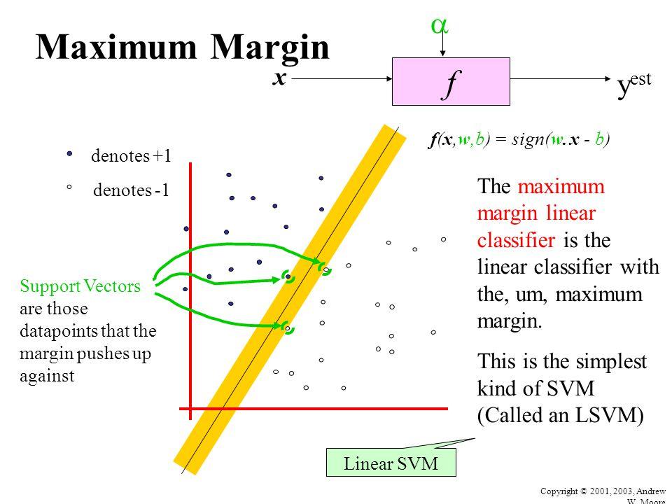 Copyright © 2001, 2003, Andrew W. Moore Maximum Margin f x  y est denotes +1 denotes -1 f(x,w,b) = sign(w. x - b) The maximum margin linear classifie