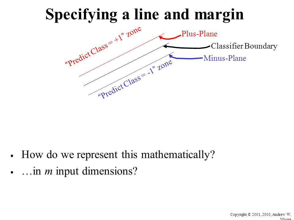 Copyright © 2001, 2003, Andrew W. Moore Specifying a line and margin How do we represent this mathematically? …in m input dimensions? Plus-Plane Minus