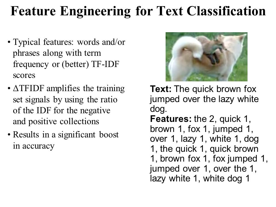 Feature Engineering for Text Classification Typical features: words and/or phrases along with term frequency or (better) TF-IDF scores ΔTFIDF amplifies the training set signals by using the ratio of the IDF for the negative and positive collections Results in a significant boost in accuracy Text: The quick brown fox jumped over the lazy white dog.